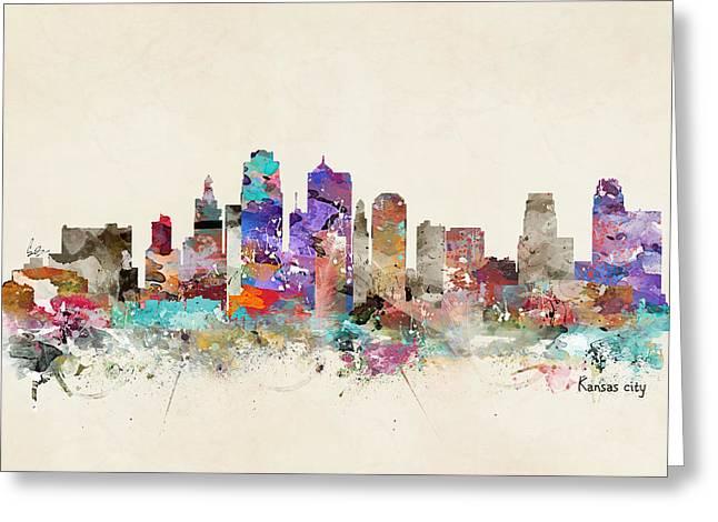 City Art Greeting Cards - Kansas City Missouri Greeting Card by Bri Buckley