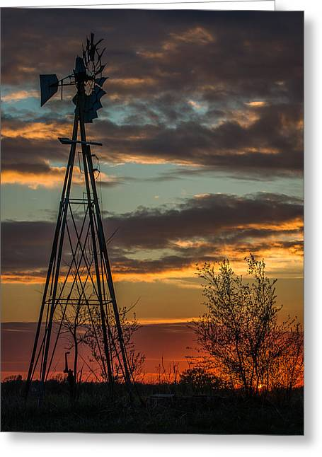 Cole Greeting Cards - Kansas Sunset Greeting Card by Larry Pacey