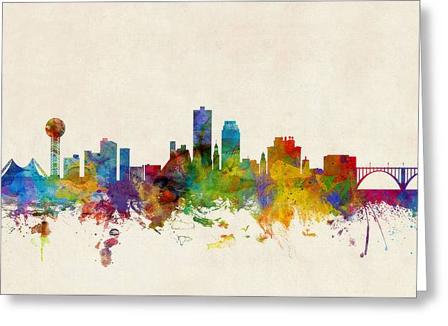 Knoxville Tennessee Skyline Greeting Card by Michael Tompsett
