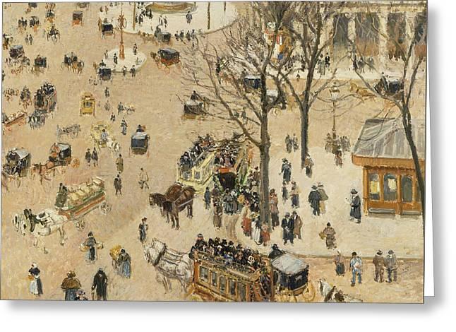 La Place Due Theatre Francais  Greeting Card by Camille Pissarro