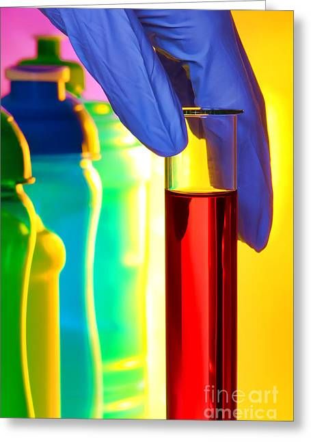 Colorful Bottles Greeting Cards - Laboratory Test Tube in Science Research Lab Greeting Card by Olivier Le Queinec