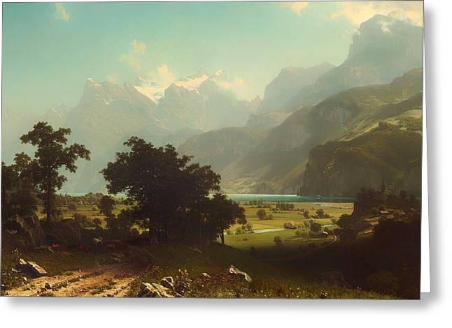 Haze Paintings Greeting Cards - Lake Lucerne Greeting Card by Albert Bierstadt