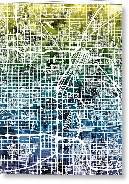 America City Map Greeting Cards - Las Vegas City Street Map Greeting Card by Michael Tompsett