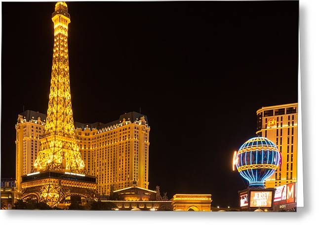 Playing Cards Greeting Cards - Las Vegas Eifel Tower Paris Greeting Card by Super Jolly