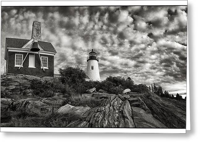 Maine Lighthouses Greeting Cards - Lighthouse At Pemaquid Greeting Card by Robert Fawcett