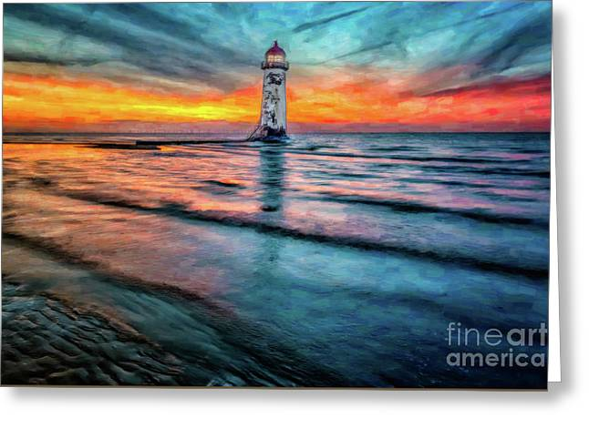 Dome Greeting Cards - Light House Sunset Greeting Card by Adrian Evans