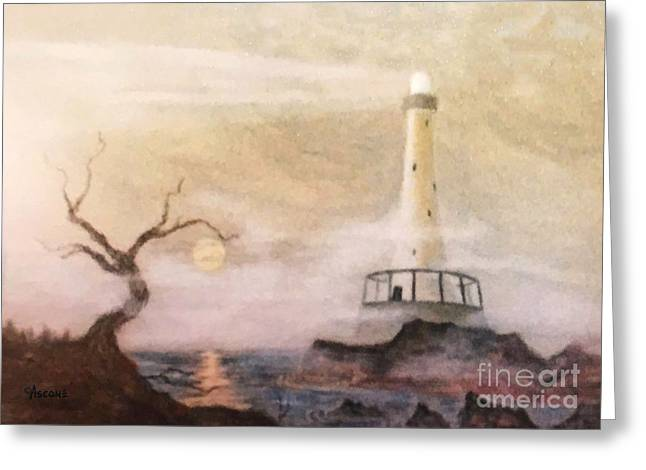 Panoramic Ocean Pastels Greeting Cards - Lighthouse Greeting Card by Teresa Ascone