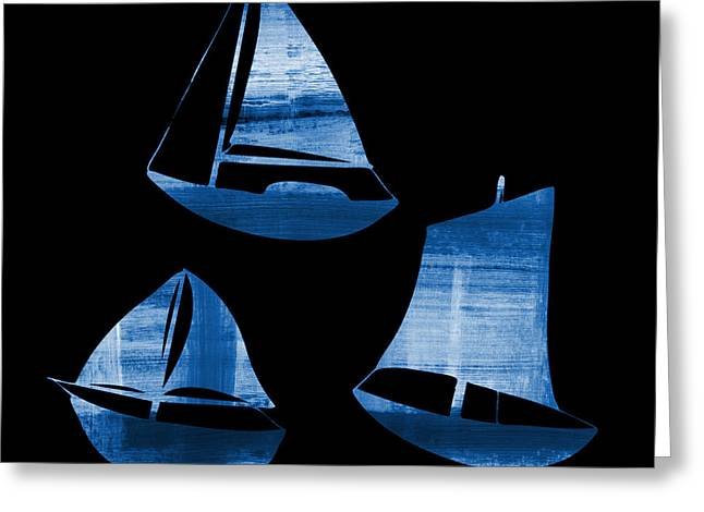 3 Little Blue Sailing Boats Greeting Card by Frank Tschakert