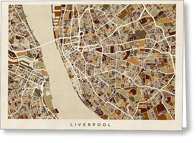 Retro Abstract Greeting Cards - Liverpool England Street Map Greeting Card by Michael Tompsett