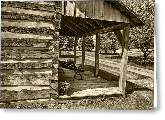 Log Cabin Photographs Greeting Cards - Log House with Veranda Greeting Card by Donald  Erickson