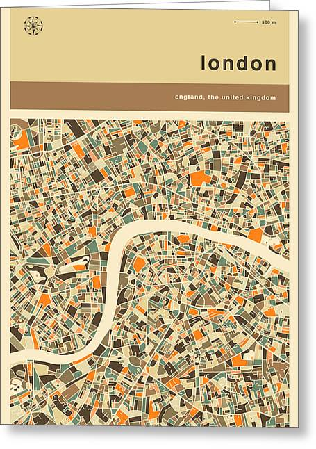 London City Map Greeting Cards - London Map Greeting Card by Jazzberry Blue