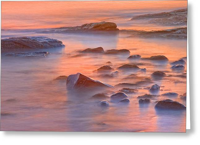 Maine Beach Digital Art Greeting Cards - Long Exposure of Colorful Ocean waves at Sunset. Greeting Card by Keith Webber Jr