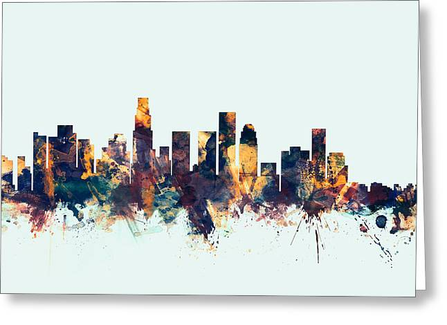 Skyline Greeting Cards - Los Angeles California Skyline Greeting Card by Michael Tompsett