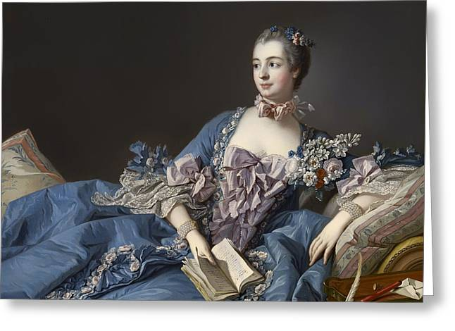 Purple Couch Greeting Cards - Madame De Pompadour Greeting Card by Francois Boucher