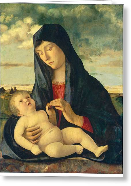 Prospects Greeting Cards - Madonna And Child In A Landscape Greeting Card by Giovanni Bellini