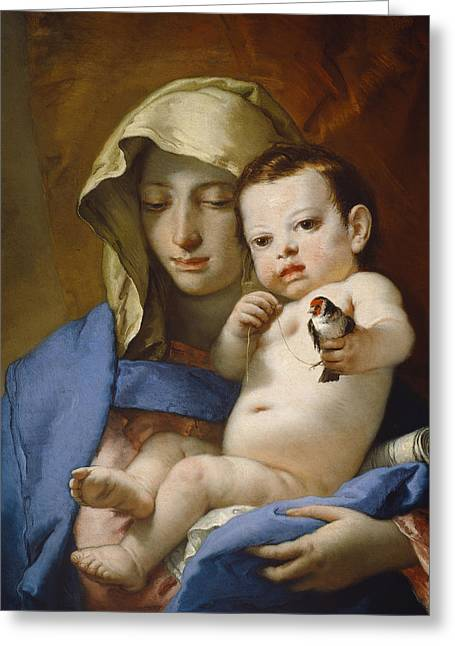 Christ Child Greeting Cards - Madonna of the Goldfinch Greeting Card by Giovanni Battista Tiepolo