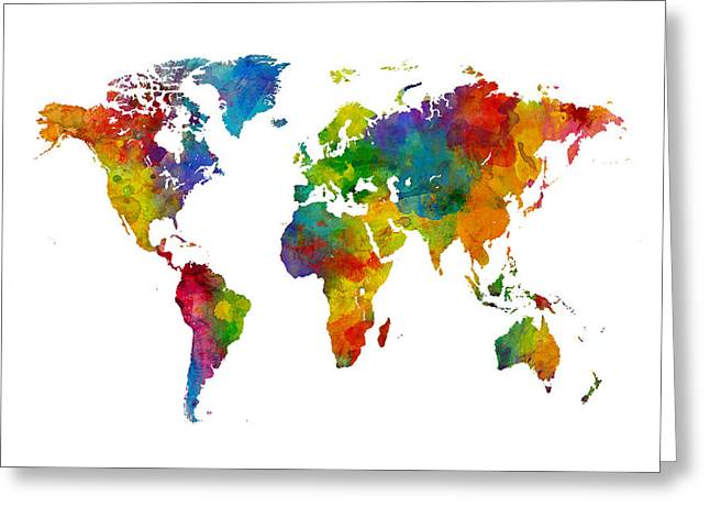 Map Of The World Map Watercolor Greeting Card by Michael Tompsett