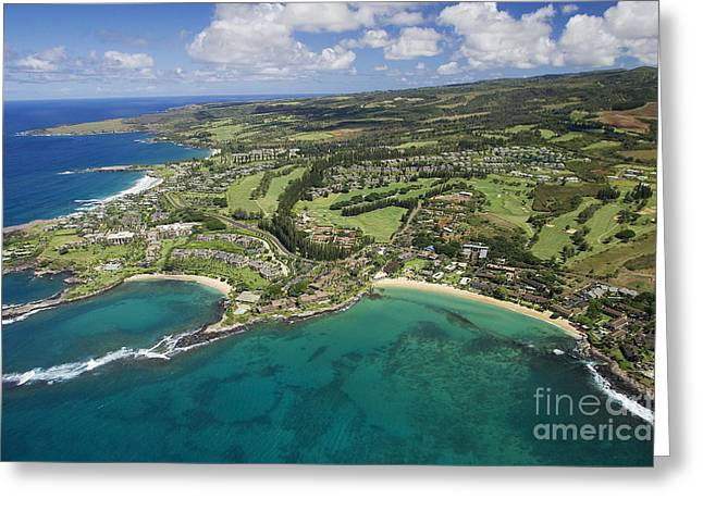 Ocean Art Photos Greeting Cards - Maui Aerial Of Kapalua Greeting Card by Ron Dahlquist - Printscapes