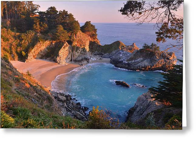 Big Sur Greeting Cards - McWay Falls - Big Sur Greeting Card by Stephen  Vecchiotti