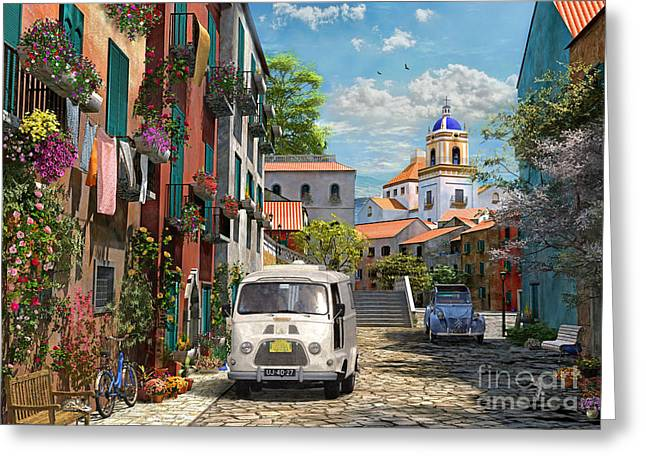 Mediterranean Landscape Greeting Cards - Mediterranean Morning Greeting Card by Dominic Davison