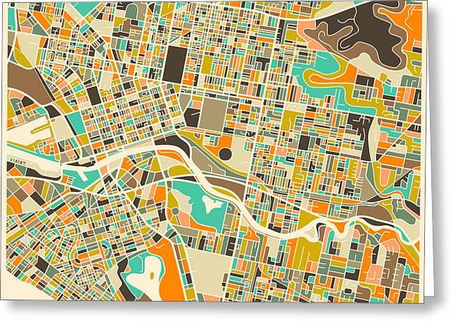 Modern Artist Greeting Cards - MELBOURNE map Greeting Card by Jazzberry Blue