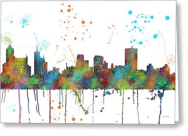 Tn Digital Art Greeting Cards - Memphis Tennessee Skyline Greeting Card by Marlene Watson
