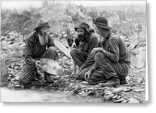 3 MEN and a DOG PANNING for GOLD c. 1889 Greeting Card by Daniel Hagerman