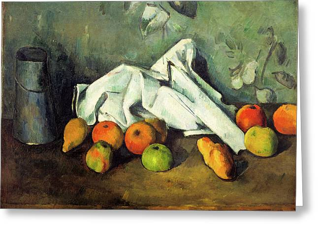 Milk Can And Apples Greeting Card by Paul Cezanne