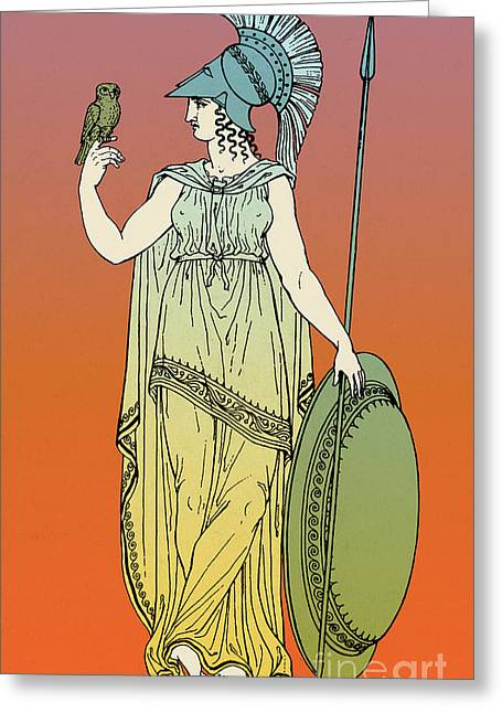 Owl Of Minerva Greeting Cards - Minerva, Roman Goddess Of Medicine Greeting Card by Photo Researchers