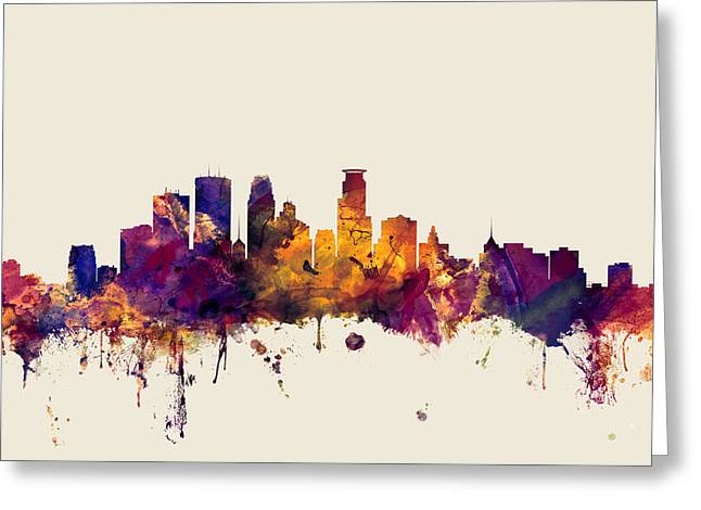 Minneapolis Greeting Cards - Minneapolis Minnesota Skyline Greeting Card by Michael Tompsett