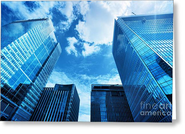 Modern Business Skyscrapers, High-rise Buildings, Architecture Raising To The Sky, Sun Greeting Card by Michal Bednarek