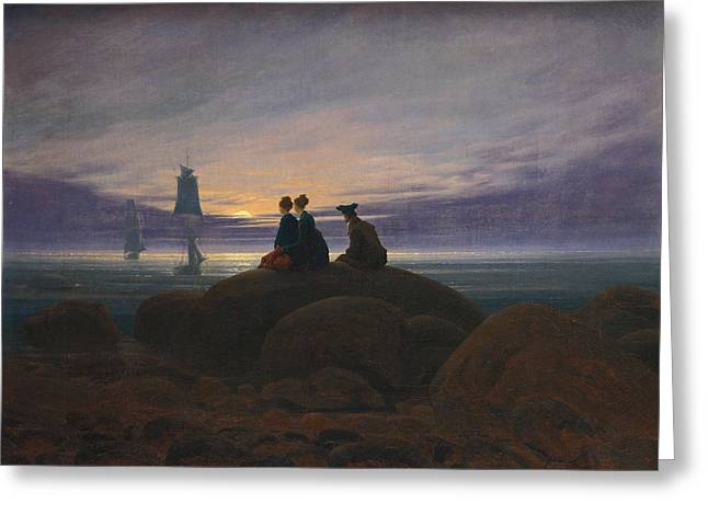 Moonrise Greeting Cards - Moonrise Over The Sea Greeting Card by Caspar David Friedrich