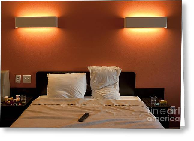 Tablets Greeting Cards - Motel Room  Greeting Card by Jim Corwin
