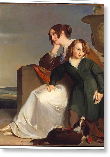 Mother And Son Greeting Card by Thomas Sully