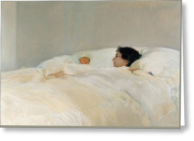 Caring Mother Greeting Cards - Mother Greeting Card by Joaquin Sorolla y Bastida