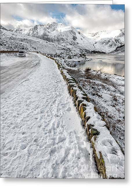 Winter Roads Greeting Cards - Mountain View Greeting Card by Adrian Evans