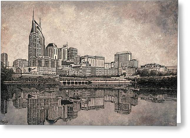 Janet King Drawings Greeting Cards - Nashville Skyline  Greeting Card by Janet King