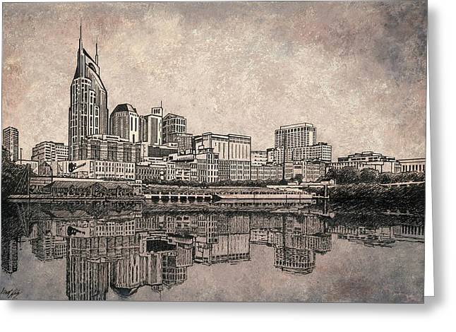 Greeting Cards - Nashville Skyline  Greeting Card by Janet King