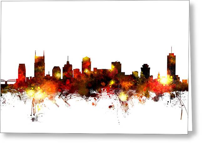 Nashville Tennessee Digital Greeting Cards - Nashville Tennessee Skyline Greeting Card by Michael Tompsett