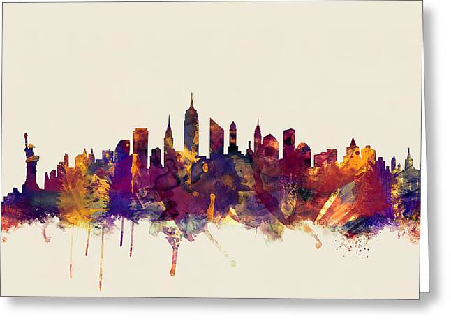 Nyc Posters Greeting Cards - New York City Skyline Greeting Card by Michael Tompsett