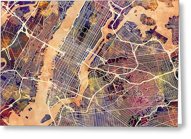 Nyc Posters Digital Art Greeting Cards - New York City Street Map Greeting Card by Michael Tompsett