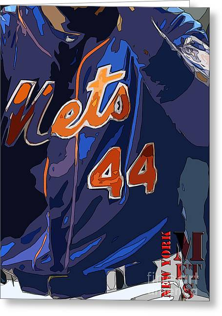 New York Mets Baseball Team And New Typography Greeting Card by Pablo Franchi