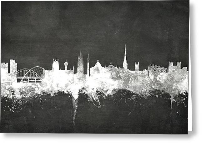 Blackboard Greeting Cards - Newcastle England Skyline Greeting Card by Michael Tompsett