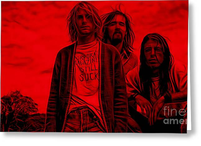 Kurt Cobain Greeting Cards - Nirvana Collection Greeting Card by Marvin Blaine