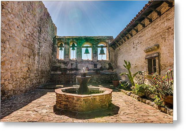 Religious Greeting Cards - San Juan Capistrano Mission Fountain and Bells Greeting Card by Patti Deters