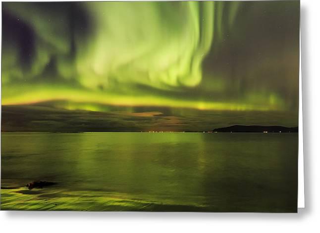 Northern Lights Reykjavik Greeting Card by Gunnar Orn Arnason