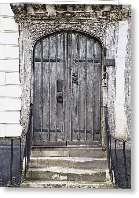 Wooden Stairs Greeting Cards - Old doorway Greeting Card by Tom Gowanlock