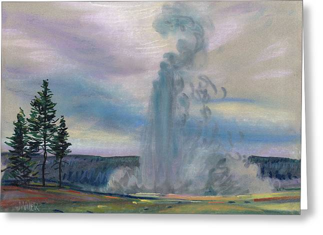 Geyser Greeting Cards - Old Faithful Greeting Card by Donald Maier