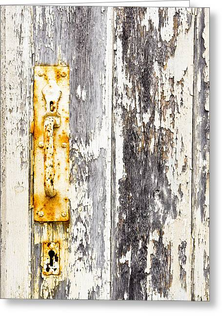 Beige Abstract Greeting Cards - Old gate Greeting Card by Tom Gowanlock