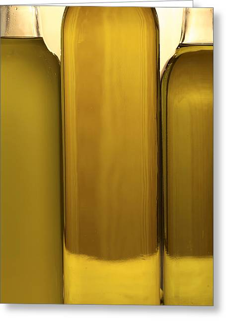 Abstract Food Greeting Cards - 3 Olive Oil Bottles Greeting Card by Frank Tschakert